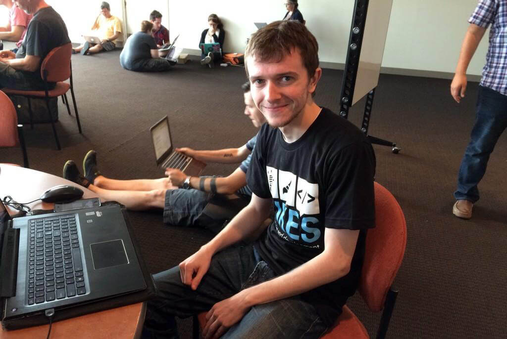 Evan working at contributor day