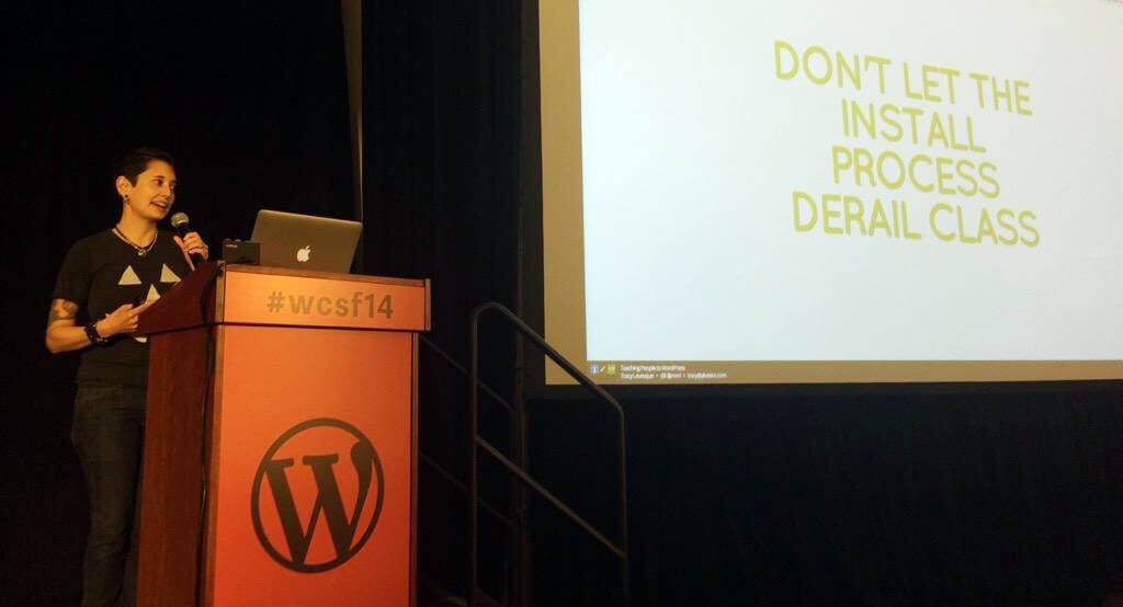 Tracy speaking at WordCamp San Francisco 2014