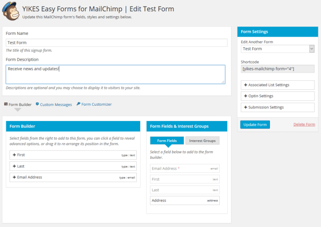 New Easyforms for Mailchimp plugin interface